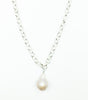 Ramina Rechard 1 Baroque Chamagne Pearl on Circle Silver Chain