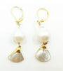 Ramina Rechard 1 Baroque White Pearl with Mother of Pearl Set in Gold