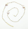 "Ramina Rechard 3 Baroque Champagne Pearls on 26"" Moonstone Beads"