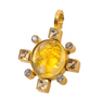 Dina Mackney Citrine and White Topaz Intaglio Glass 18K Gold Plated Figural Enhancer 2 In. L x 1.5 In. W