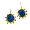 Dina Mackney Blue Abalone Pinwheel 18K Gold Plated Earrings with Earwire 1 In. L x .75 In. W