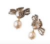 Miriam Haskell Faux Pearl and Rhinestone Earrings