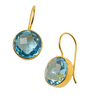 Dina Mackney 18K Gold Plate Round Blue Topaz Earrings with Earwire 1 In. L x .5 In. W