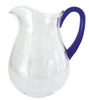 Caspari Acrylic Pitcher Clear and Cobalt