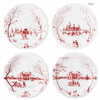 Juliska Winter Frolic Mr. and Mrs. Claus Set of 4 Ruby Party Plates