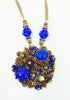 Stanley Hagler N.Y.C.Blue Accent Beads on Bronze and Topaz Necklace