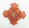 Stanley Hagler N.Y.C. Maltese Cross with Coral Beads Brooch