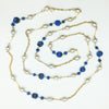 Stanley Hagler N.Y.C. Blue Bead and Pearls on Gold Chain Long Necklace