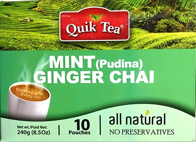 Quick Mint Ginger Chai ( 10 pouches ) MirchiMasalay
