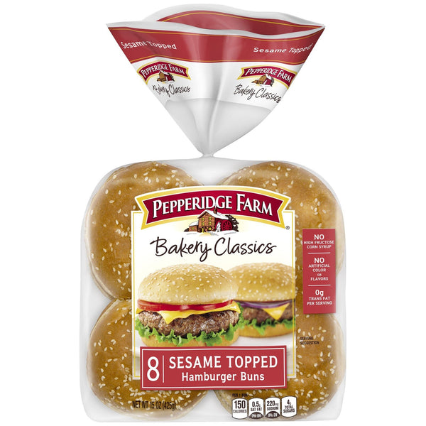 Pepperidge Farm Bakery Classics Sesame Topped Hamburger Buns MirchiMasalay