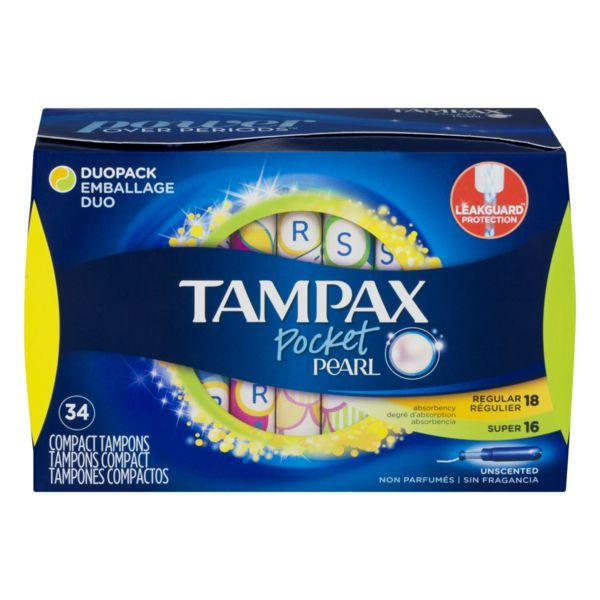 Tampax Pocket Pearl Unscented Compact Tampons Regular and Super MirchiMasalay