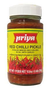 Priya Red Chilli Pickle ( with Garlic) - MirchiMasalay
