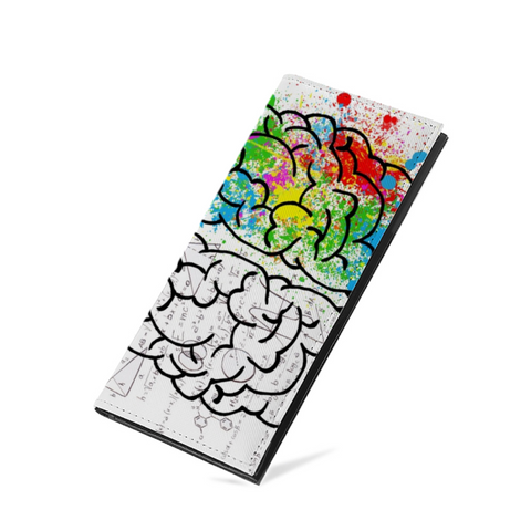 Left Brain, Right Brain PU Leather Multi-Card Long Bifold Wallet