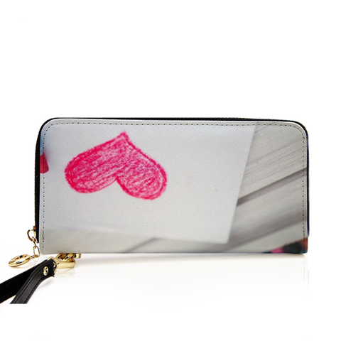 Heart Men and Women's PU Leather Wallet around Long Clutch Purse