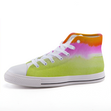 Pink, orange, and lime high-top fashion canvas shoes
