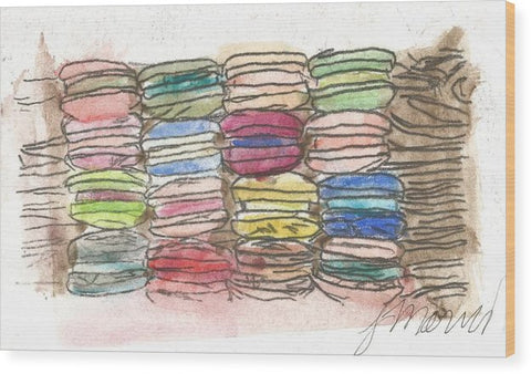 A Feast Of Macarons - Wood Print