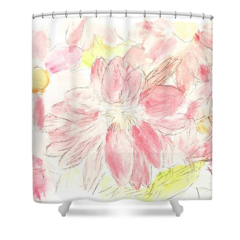 Abstract Red Daisies - Shower Curtain