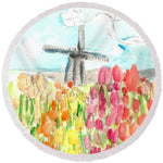 Holland In Spring - Round Beach Towel