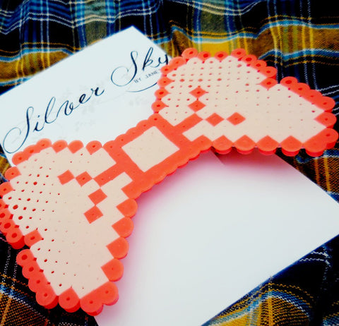 Large Perler Bead Bow Barrette