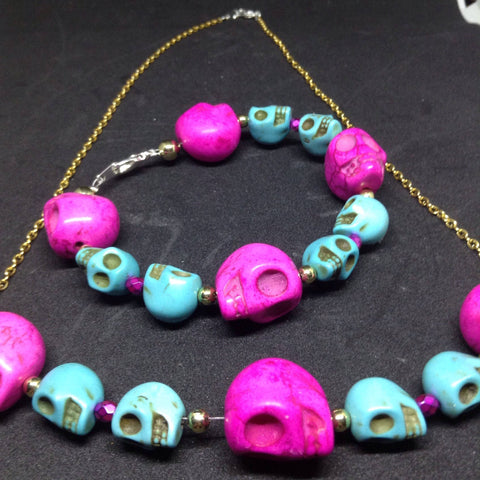 Skull Bracelet and Necklace Set