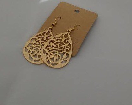 Teardrop Golden Filigree Earrings