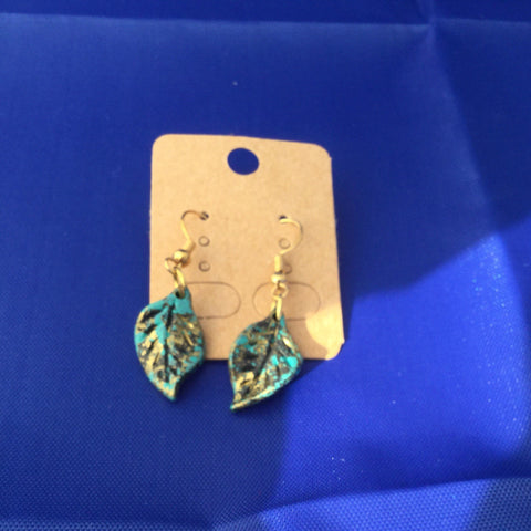 Antiqued Teal Leaf Earrings