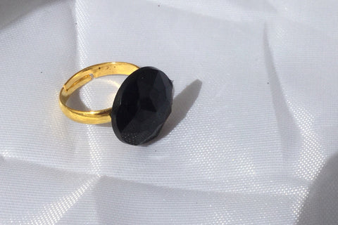 Black and Gold Ring, Faceted Gem