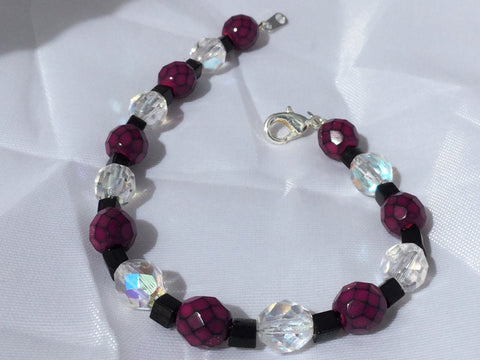 Black, Pink, and Clear Beaded Bracelet