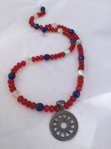 Red, White and Blue Sunburst Necklace