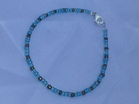Baby Blue and Antique Silver Seed Bead Bracelet