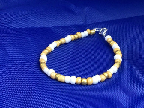 White and Gold Seed Bead Bracelet