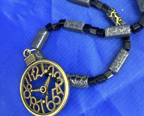 Black and Gold Clock Necklace