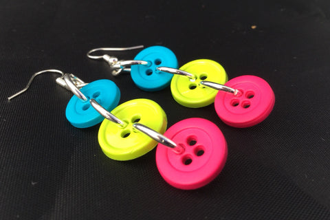 Bright Tri-Color Button Dangle Earring Nickel Free