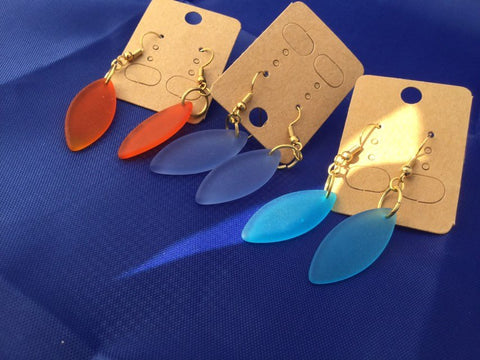 Marquis Sea glass dangle earrings