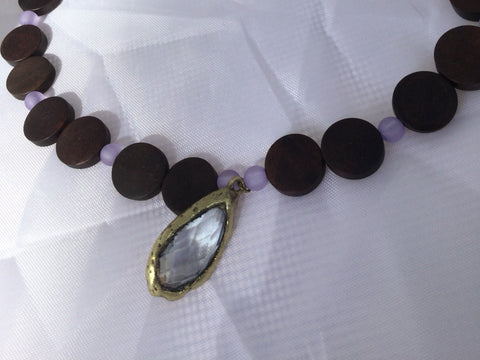 Frosted Purple, Wooden Coin, and Gold & Lavender Gem Pendant on Beaded Necklace, nickel free