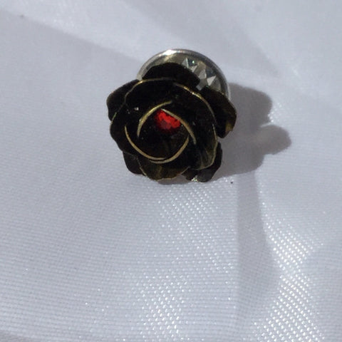 Metal Floral Button Brooch
