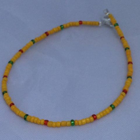 Yellow, Red, and Green Seed Bead Anklet