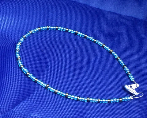 Baby Blue and Antique Silver Seed Bead Anklet