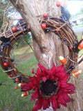 Autumn Grapevine Wreath, Sunflower, Thanksgiving, Halloween, Candy Corn
