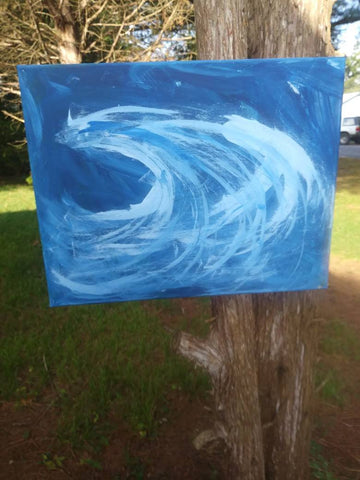 Blue Wave Acrylic Painting