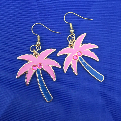 Pink and Blue Jeweled Palm Tree Earrings
