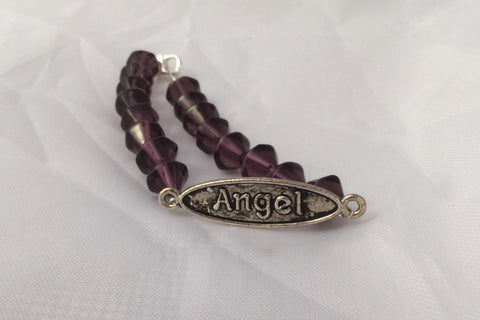 Purple Beaded Bracelet with Angel Tag