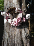 Breast Cancer Awareness Cotton and Grapevine Wreath