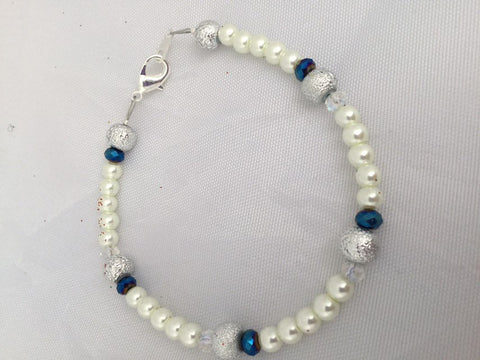 White Pearl Bracelet with Silver and Blue Beads