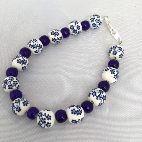 Blue and White Floral Bracelet