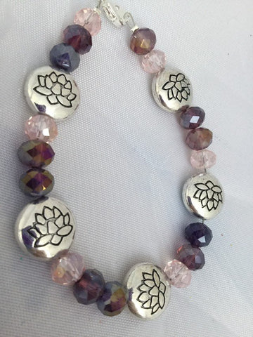 Silver Plated Lotus and Purple Ombré Glass Rondelle Beaded Bracelet