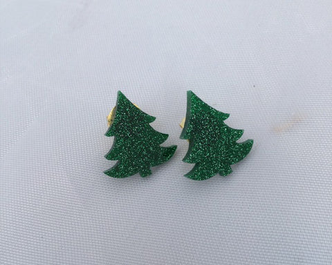 Glittery Christmas Tree Stud Earrings
