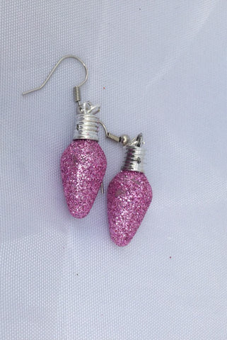 Pink Glitter and Silver Christmas Light Earrings