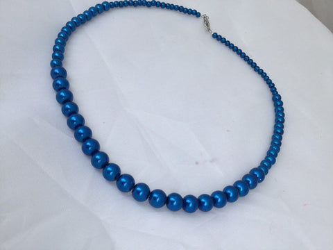 Blue Graduated Pearl Necklace