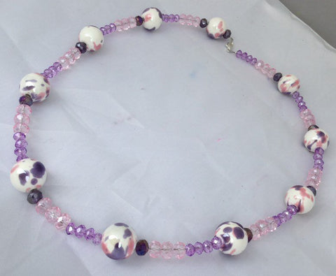 Pink, Purple, and White Beaded Necklace